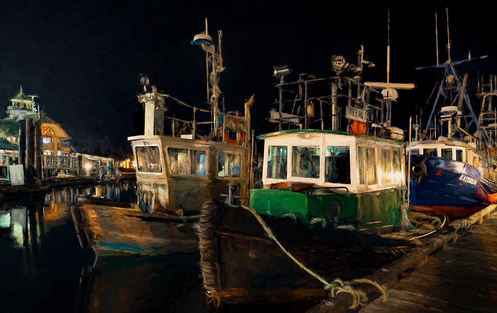"""Nanaimo Harbour at night as seen through a """"Degas Dancers"""" filter in Topaz Impressions"""