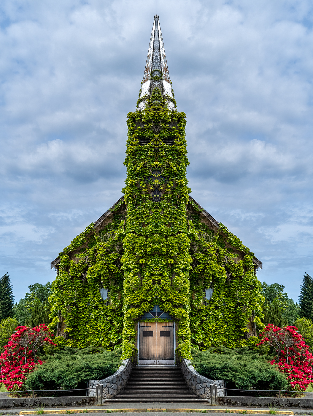 The Old Church Theater in Courtenay (mirrored)