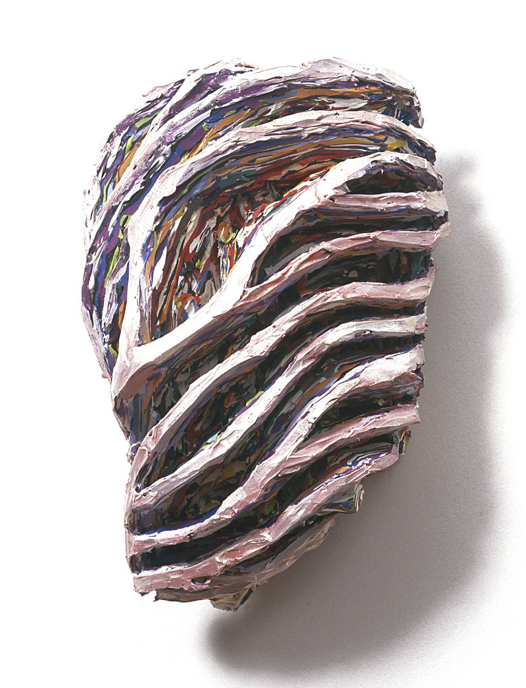 Mask Zwievel  1988, 16x11x7 in, mixed media and acrylic paint