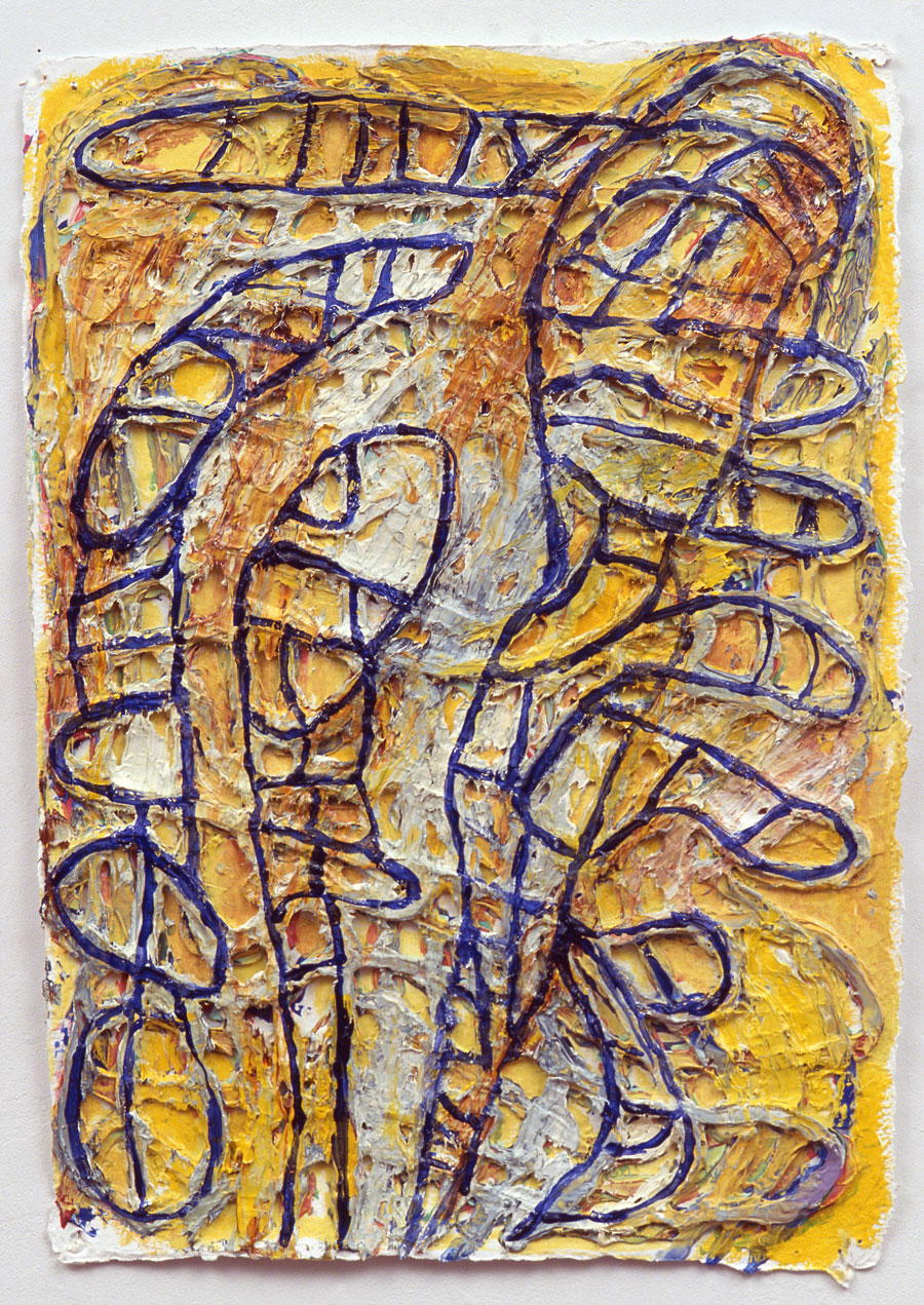 Mal Éleves #3  2008, 17x12 in, oil paint on handmade paper
