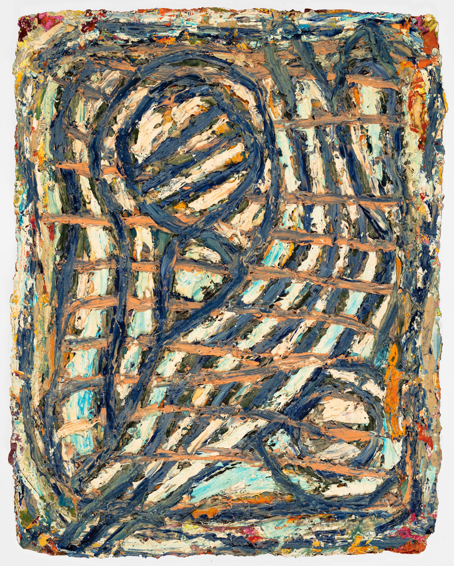 Untitled #24  2002, 13x10 in, oil paint on handmade paper