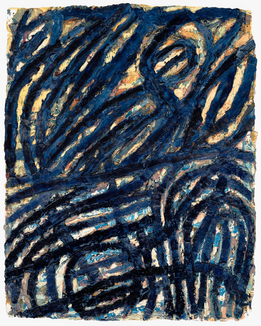 Untitled #22  2002, 13x10 in, oil paint on handmade paper
