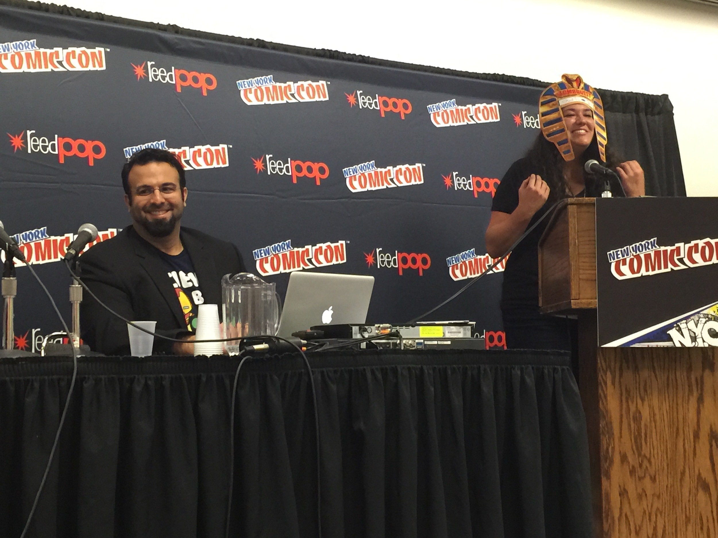Len being introduced at NY Comic Con before presenting a pre-alpha build of TombQuest (2014). Photo  ©  Joseph M. Forgione