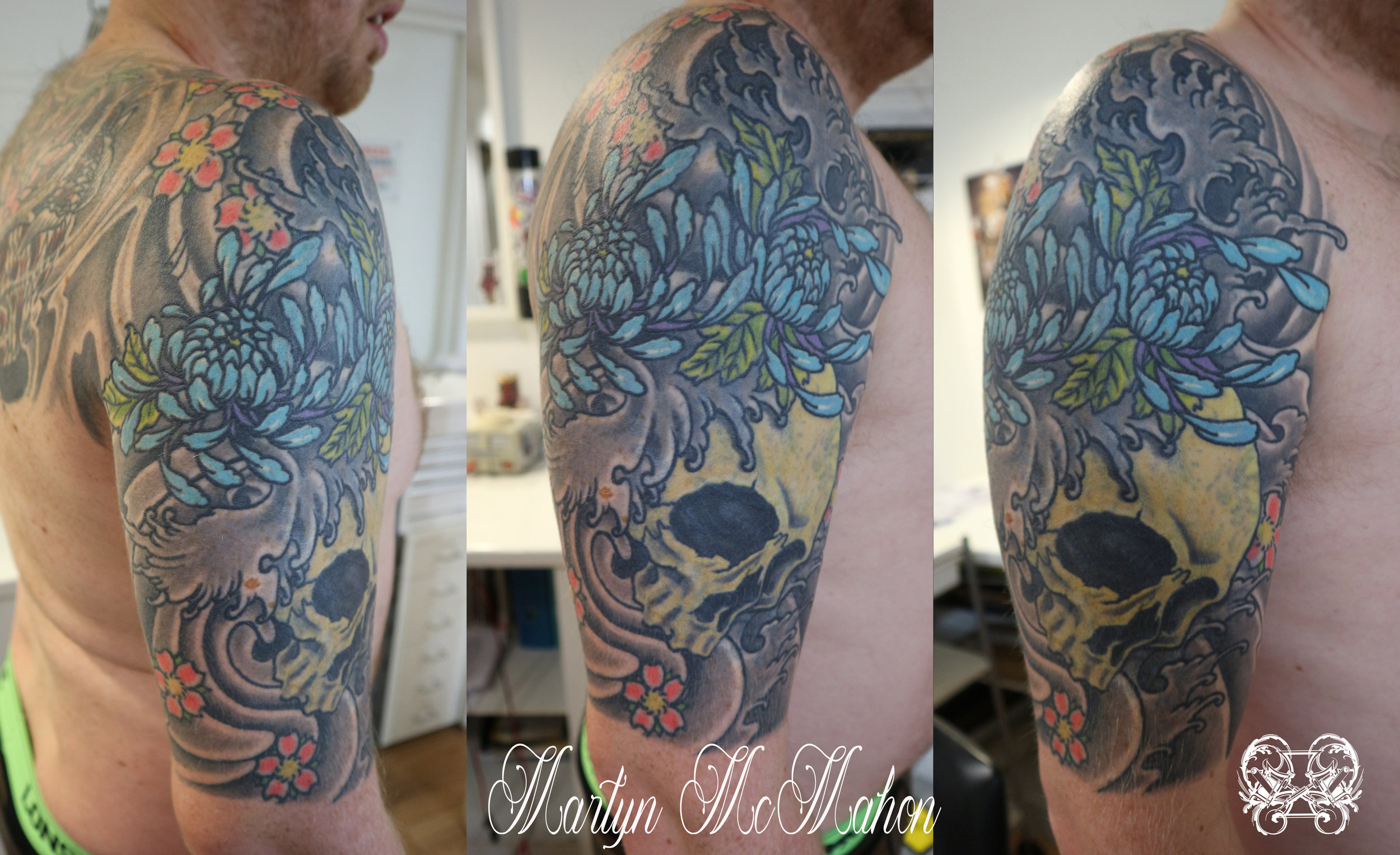 Martyn - skull chrysanthemum triptych.jpg