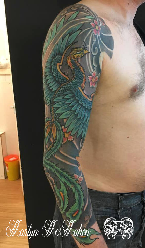 Martyn - Phoenix sleeve and cherry blossoms.jpg