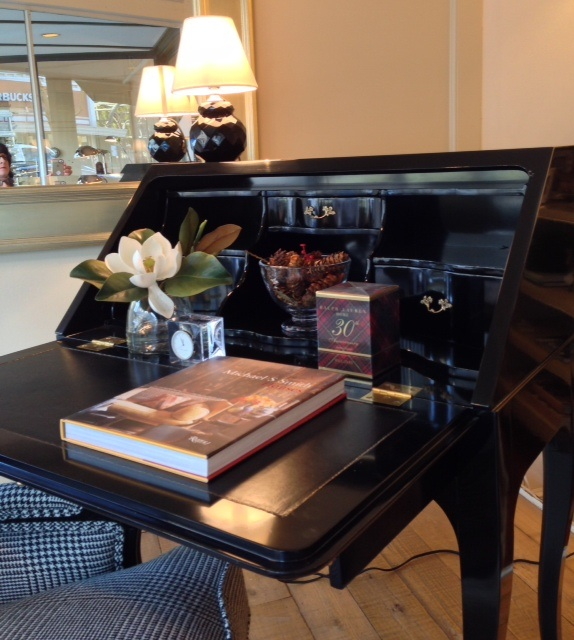 Ralph Lauren Duchess Bureau with black leather blotter and gold tooling.