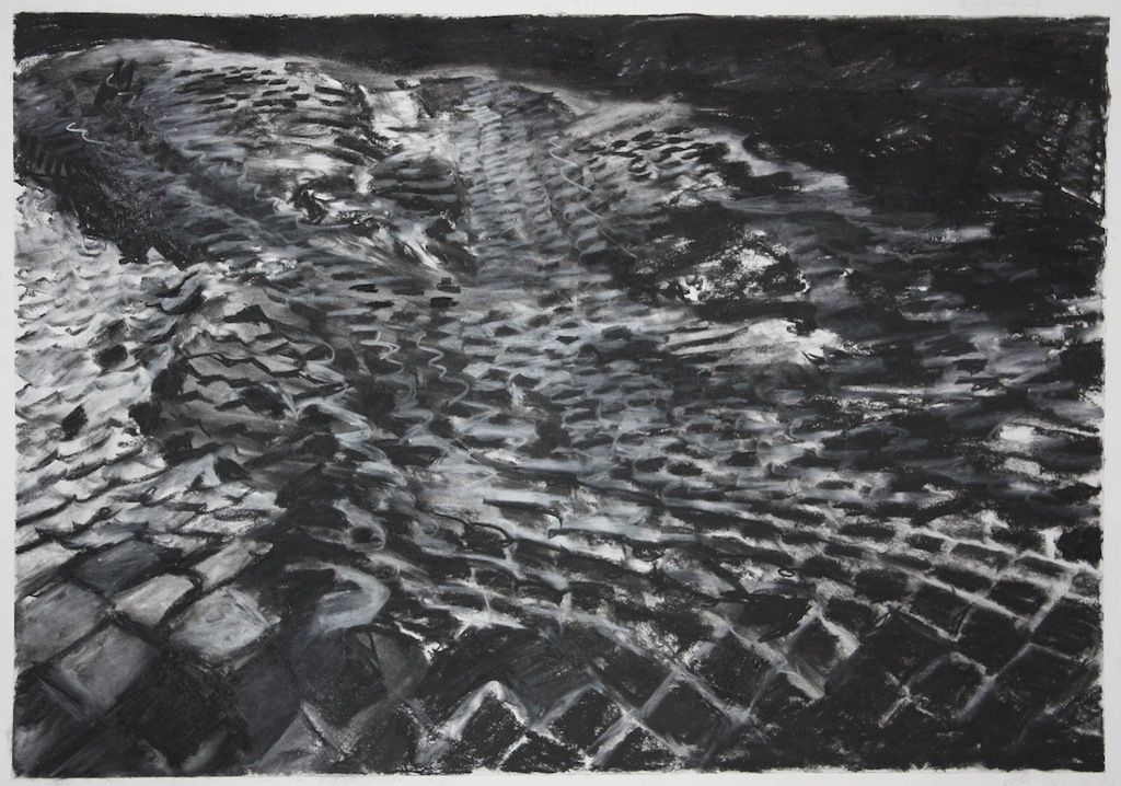 "Landmass,   2013,charcoal on paper,18"" x 25"""
