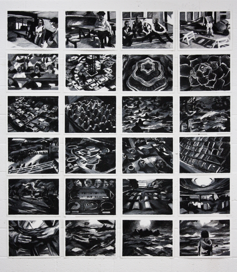 "Google Images, 2014, charcoal on paper, 24x (8""x15"")"