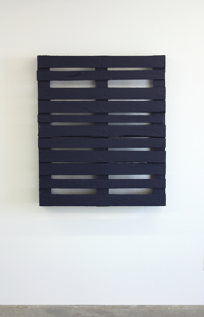 "Blue Pallet , 2014, latex paint on wood pallet, 48"" x 40"""