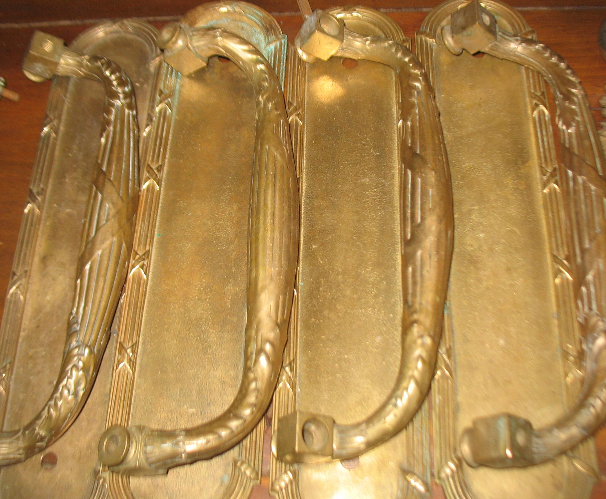 Set of 4 Heavy Brass Door Plates with Pulls.  These came from a house outside Cincinnati, Ohio.  They measure 15 inches long X 3 1/2 inches wide. ca: 1880's/1890's These would be wonderful for double entrance doors front and back.