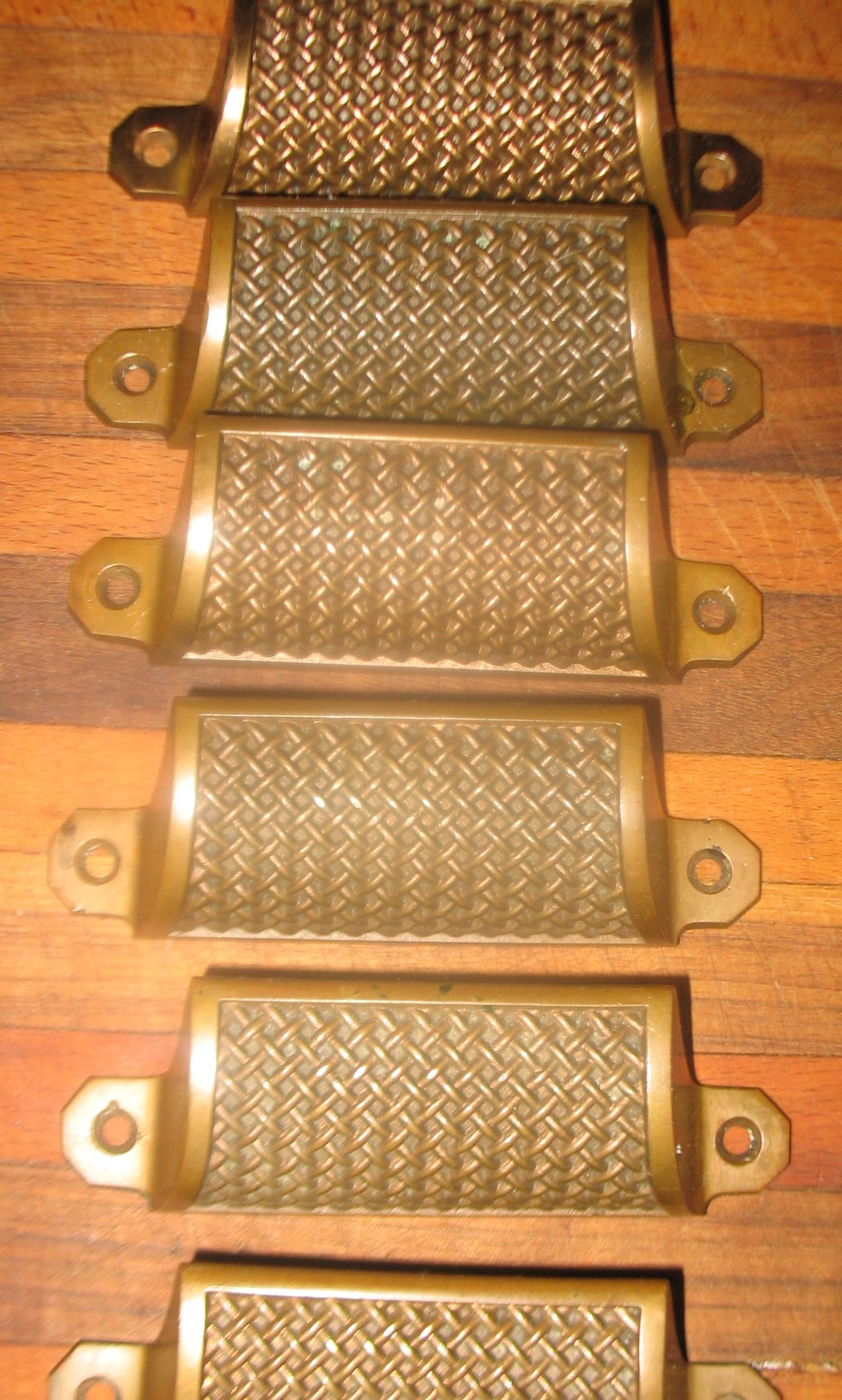 Six matching basket weave drawer pulls. Decorative brass. Measure 1  1/2 inches wide X4  1/2 inches wide   Pat. May 17, 1887 dated on each piece   SOLD