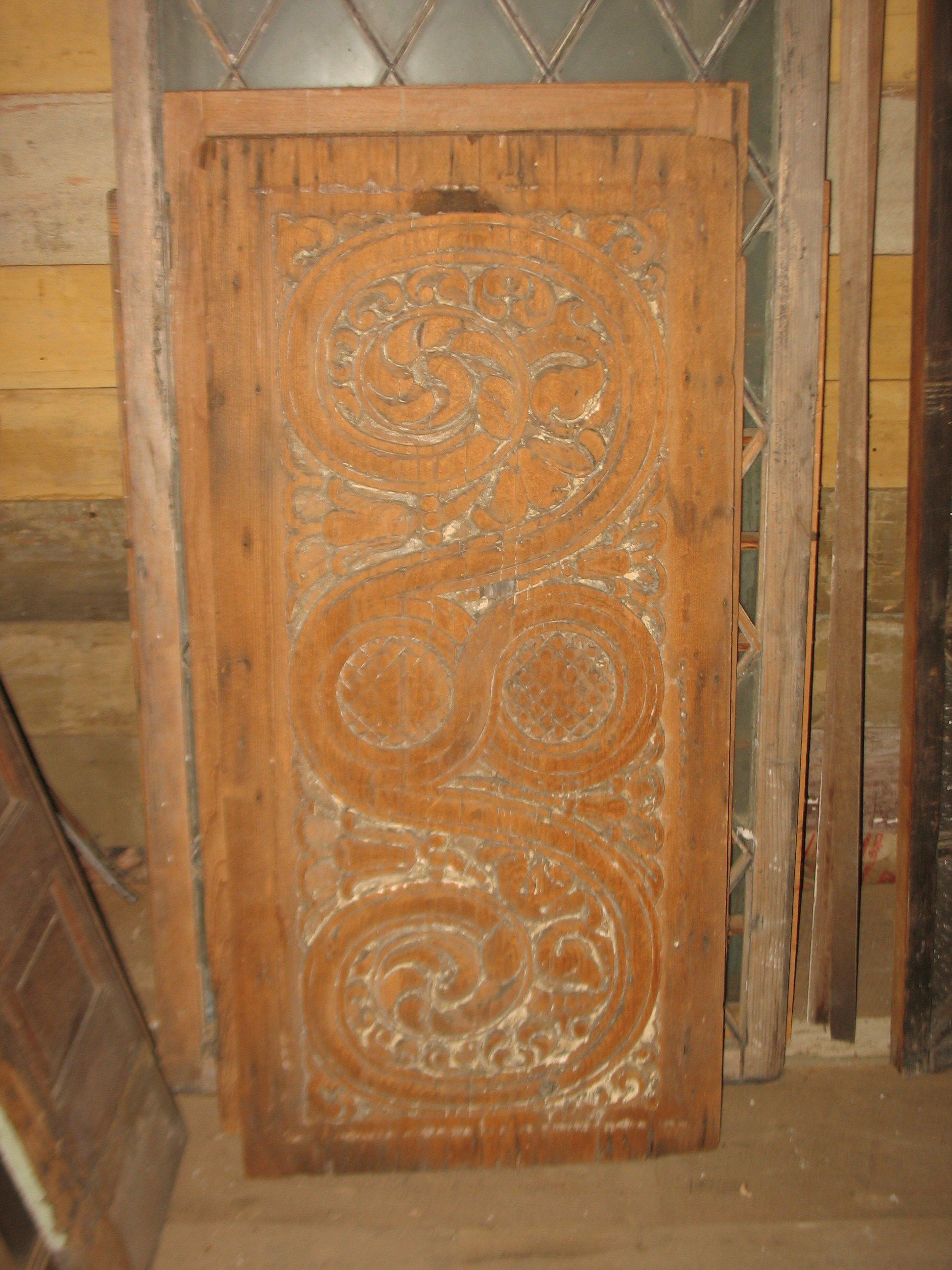 Beautiful hand carved wooden piece from a High School in Memphis.  There were 36 of these along the ceiling down the hallway of this school. This is rare for the fact that it is the only one left. A very special piece indeed and could be used as wall hanging or inserted into an over door piece.  Price upon request