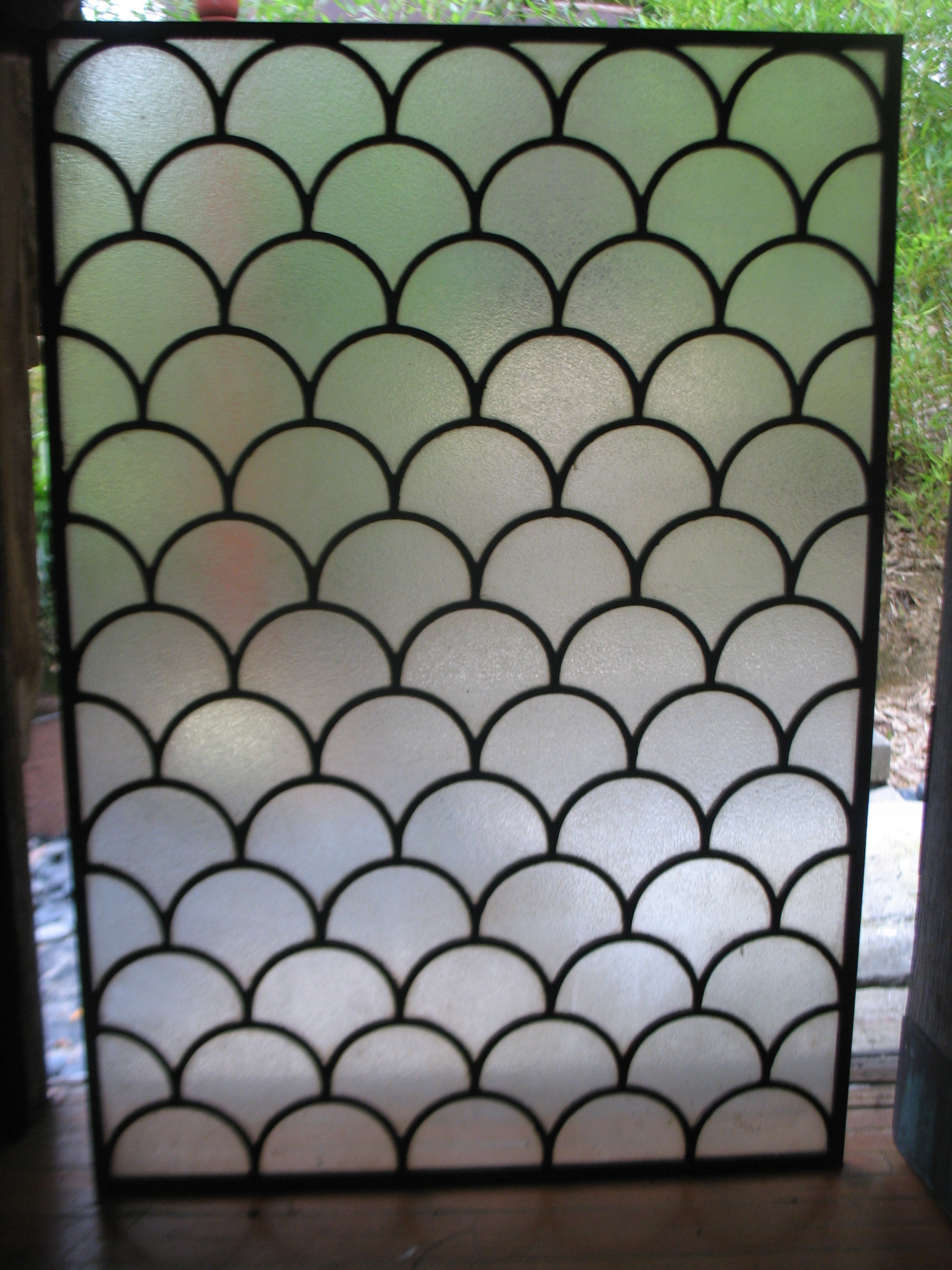 WONDERFUL WINDOWS FRAMED IN BRONZE. 4 WINDOWS 22 INCHES X 31 1/2 INCHES AND 2 WINDOWS 18 INCHES X 31 1/2 INCHES. GREAT FOR BATHROOM AS THEY ARE OPAQUE AND PRIVATE.