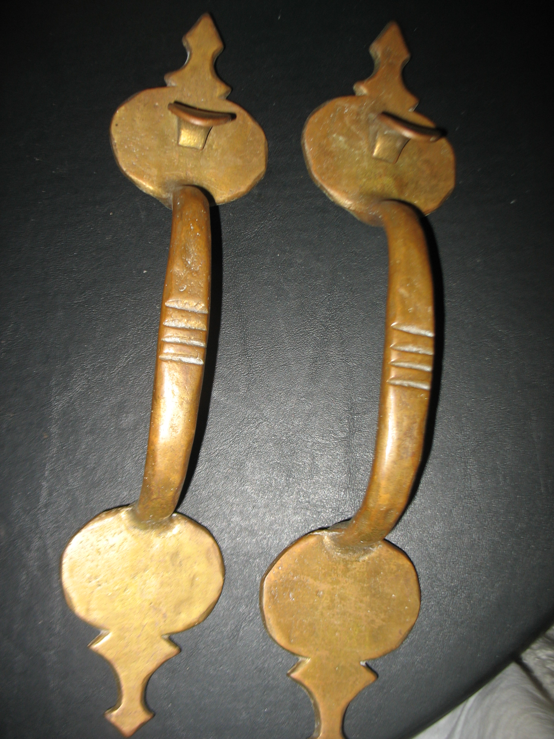 Great Pair Arts and Crafts Brass Door Pulls.  This is the REAL thing!  As Arts and Crafts period as you can get.