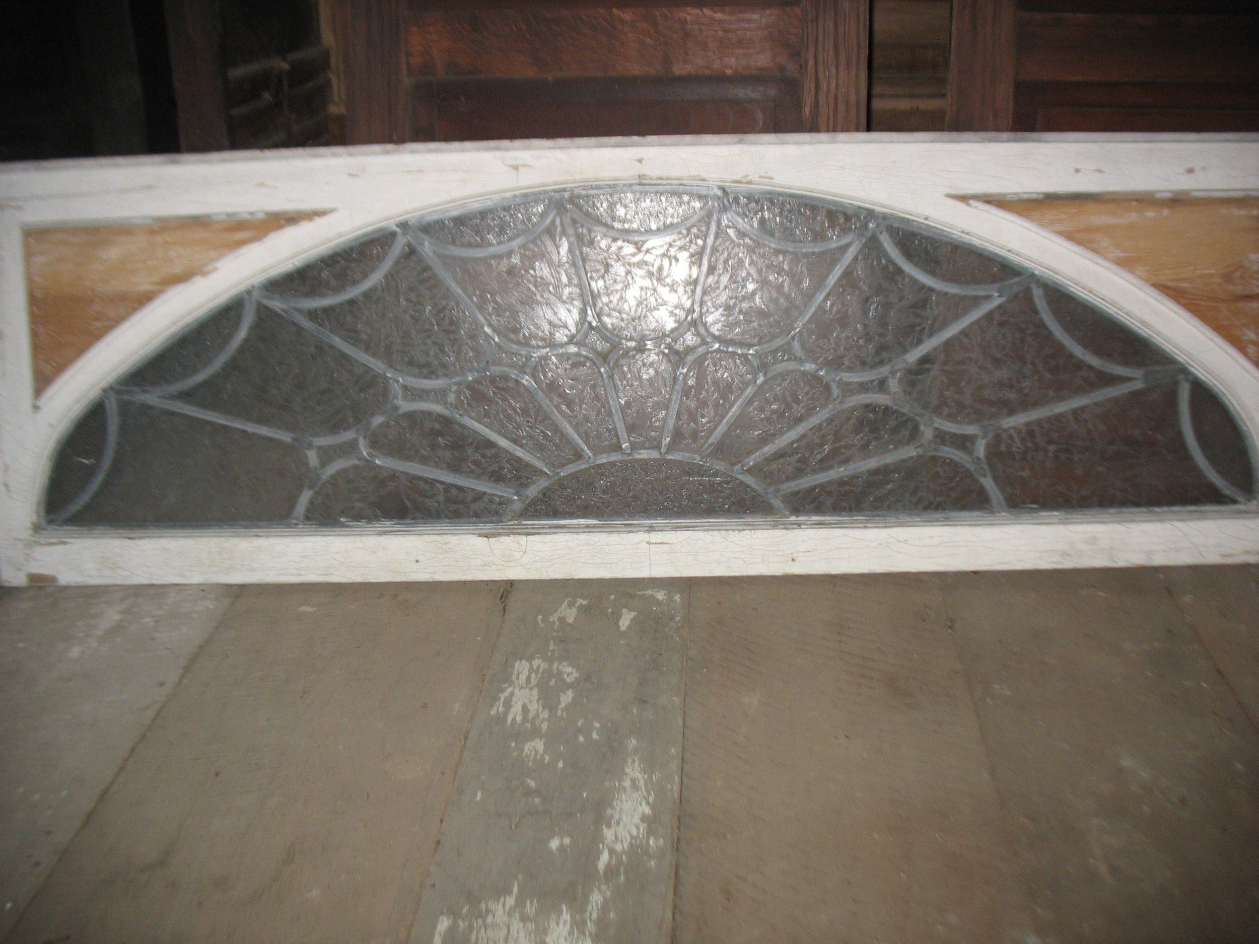 """Beautiful Transom with wonderful wide leading and Italian Crinkle Glass not to be found anymore. It measures 5' 4"""" long X 20 inches wide X 1 1/2 inch thick. Perfect condition. Our of an 1880's house in Russellville, Ky.    Price: UPON REQUEST"""