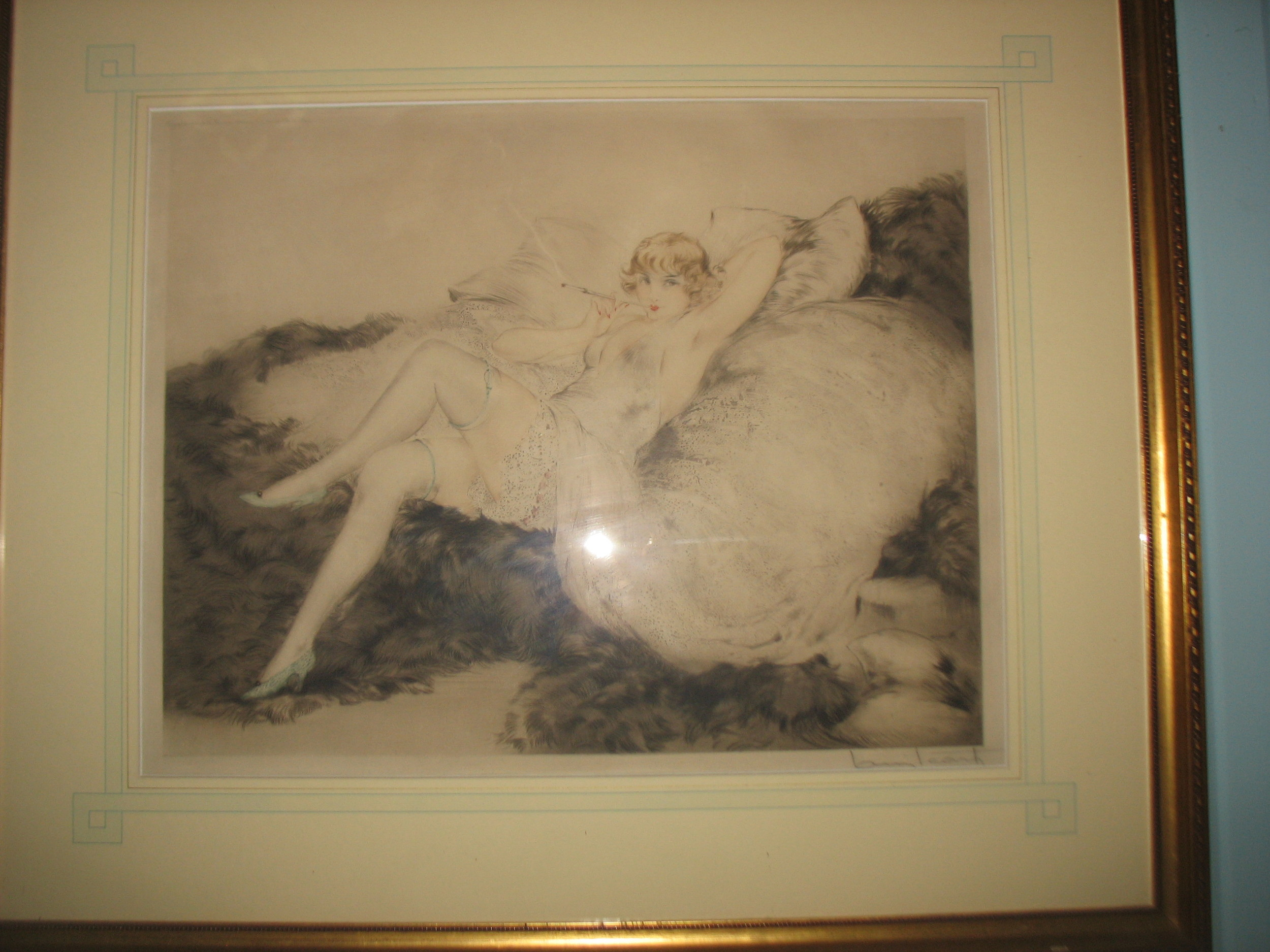 This is an original Icart signed 'Louis Icart'by the artist in pencil. The name of the piece is 'White Underwear' done in 1925. Measurements are 29 inches X 25 inches with frame.     Price upon request