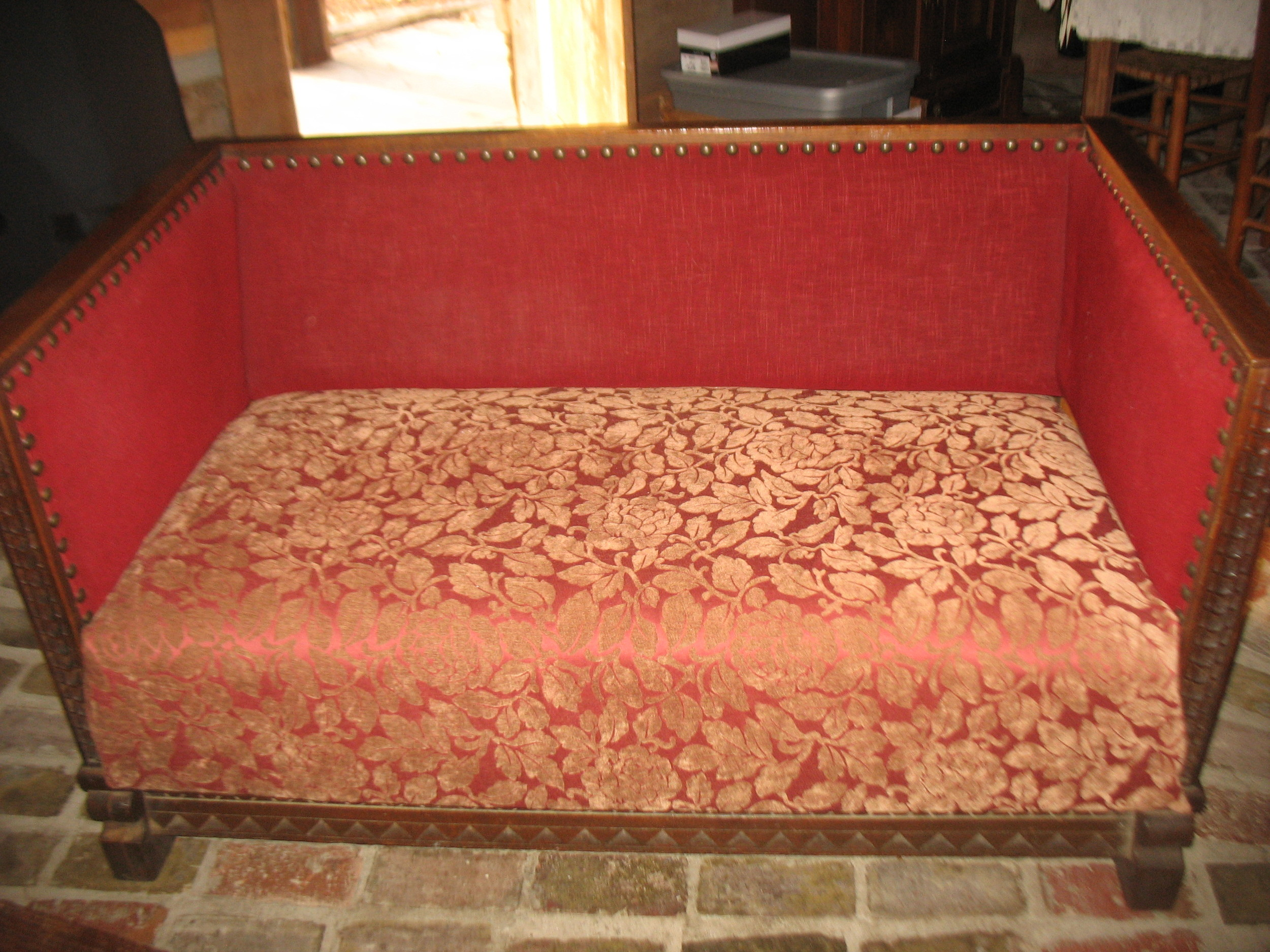 This is a wonderful Victorian Carved Oak Settee. Very heavy with original springs and stuffing. Beautifully carved ends and back. It measures4 feet 6 incheslong X 29 1/2 inches wide. 2 feet deep from front to back in the seat. 16 inches high from floor to seat.    Price upon request