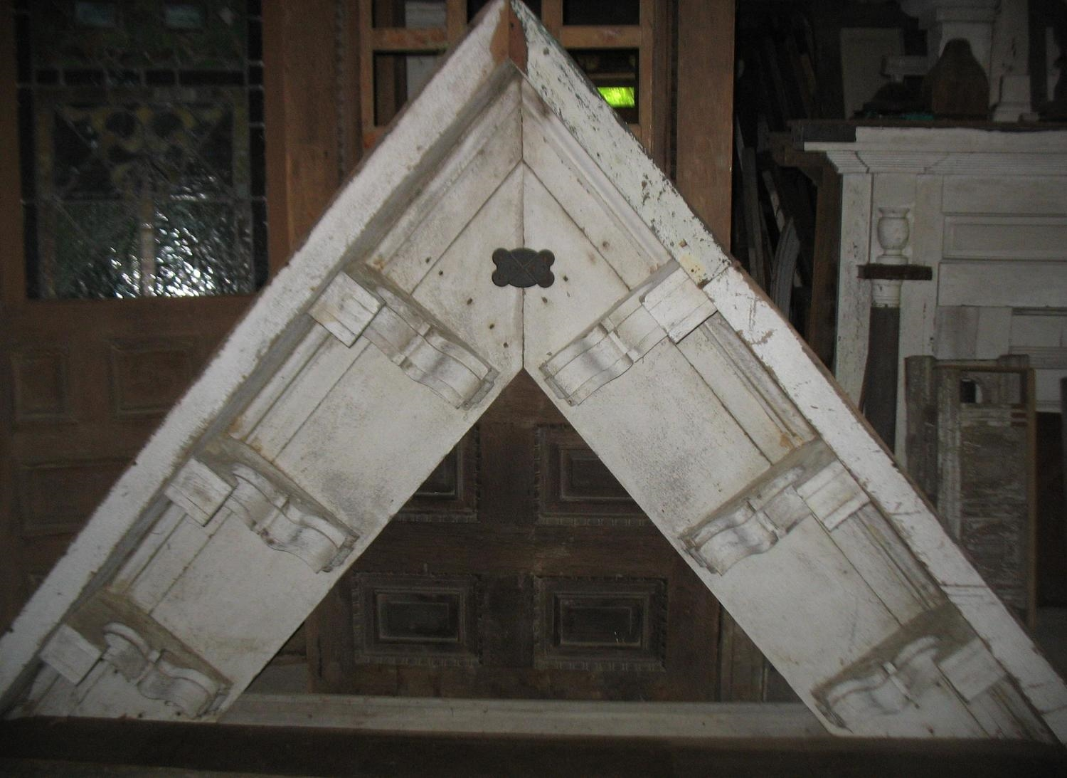 Victorian Gable from house in G allatin, Tennessee.  Measures 10 feet across bottom and 7 feet tall at point Has original white paint.