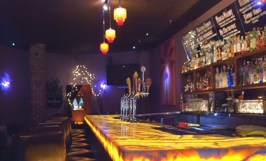 A view of our beautiful backlit onyx bar at Sugar Lounge, San Francisco.