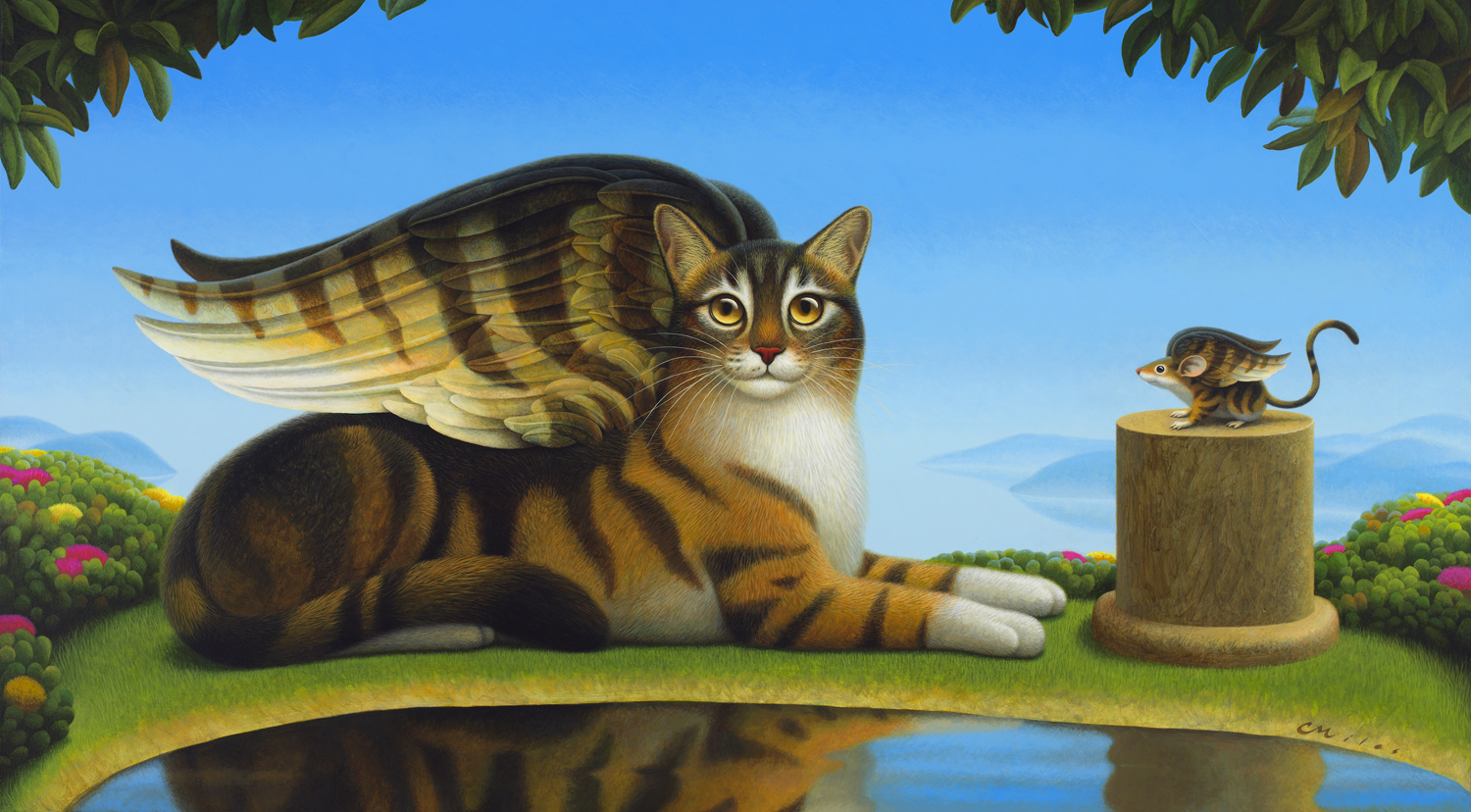 Cat and Mouse, Acrylic on Panel, 25 x 45 inches