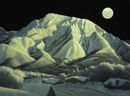 Moonlight Olympus, Acrylic on Panel, 24 x 30 inches