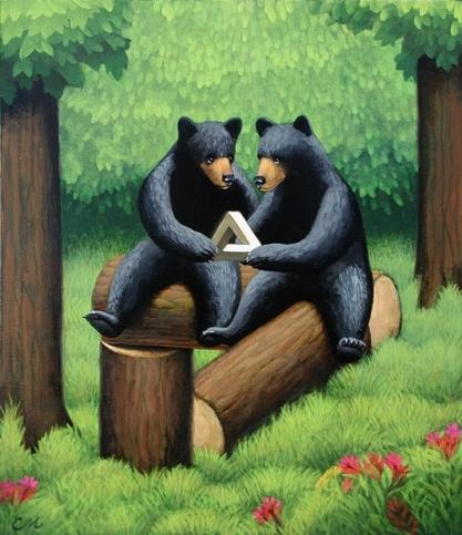 Curious Bears, Acrylic on Panel, 11 x 14 inches