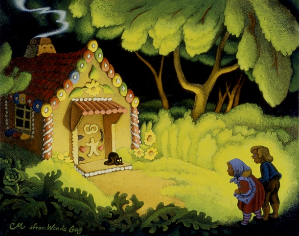 Hansel and Gretel, Acrylic on Panel, 8 x 10 inches