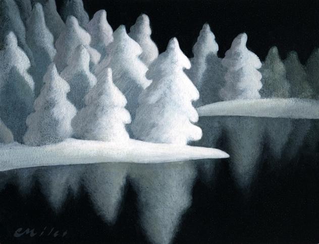 Winter Lake, Acrylic on Panel, 6 x 8 inches