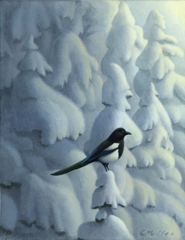 Magpie, Acrylic on Panel, 11 x 14 inches