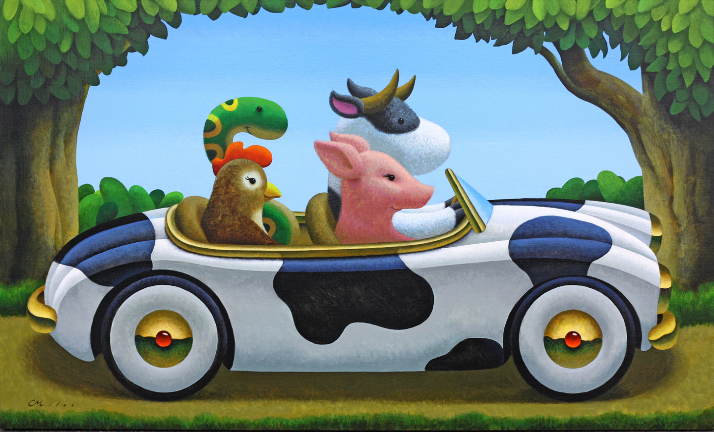 Family Drive, Acrylic on Panel, 30 x 68 inches