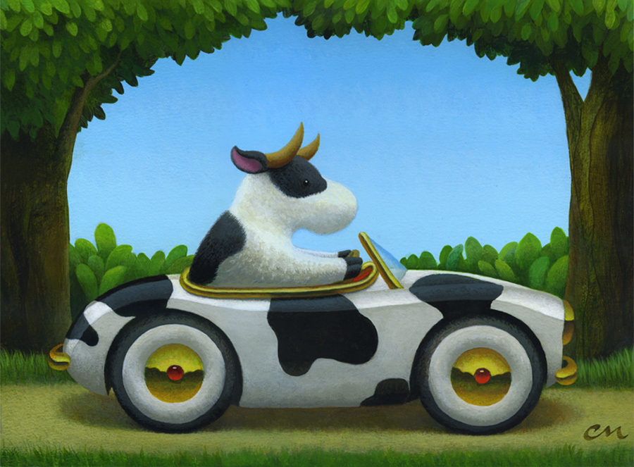 Cow Car, Acrylic on Canvas, 72 x 96 inches