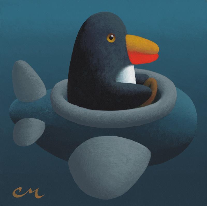 Penguin, Acrylic on Panel, 8 x 8 inches