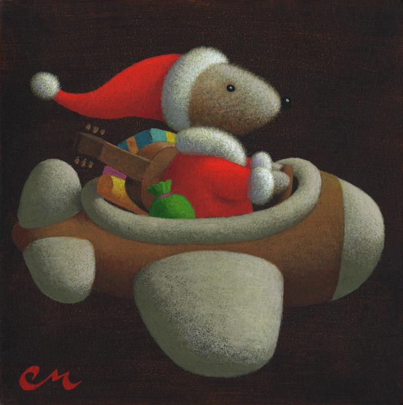 Happy Holidays!, Acrylic on Panel, 8 x 8 inches