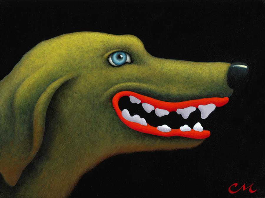 Good Dog, Acylic on Panel, 9 x 12 inches