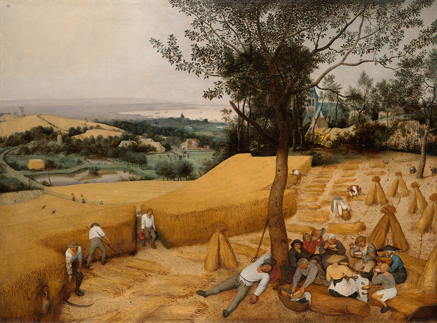 Pieter Bruegel's painting The Harvesters, painted 50 years or so later in 1565, is built up using the exact same technique.
