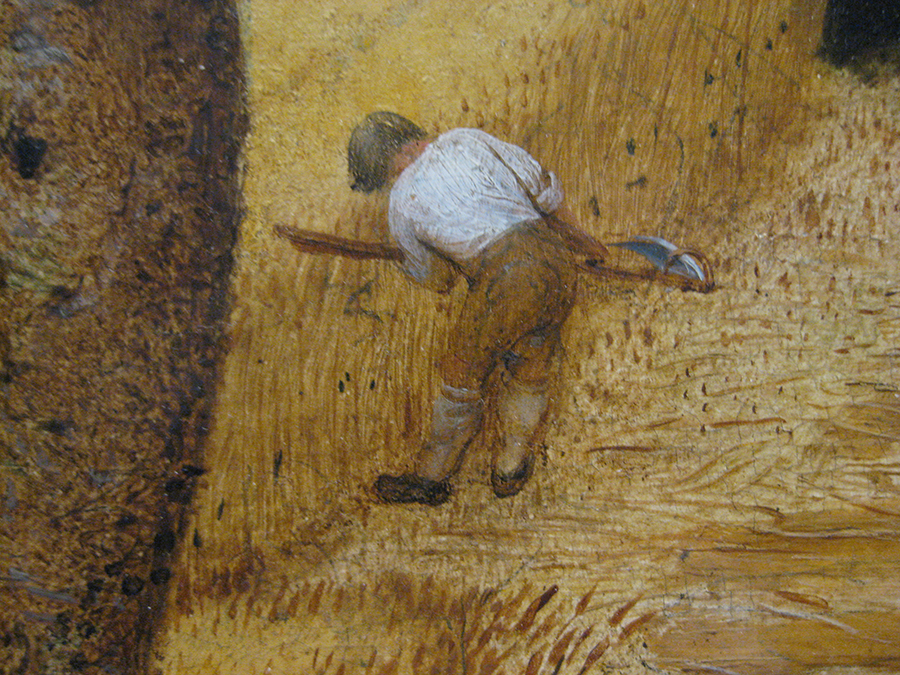 Pieter Bruegel's painting The Harvesters, detail. In this detail above the only really opaque paint is the white shirt and some black textural brush strokes.