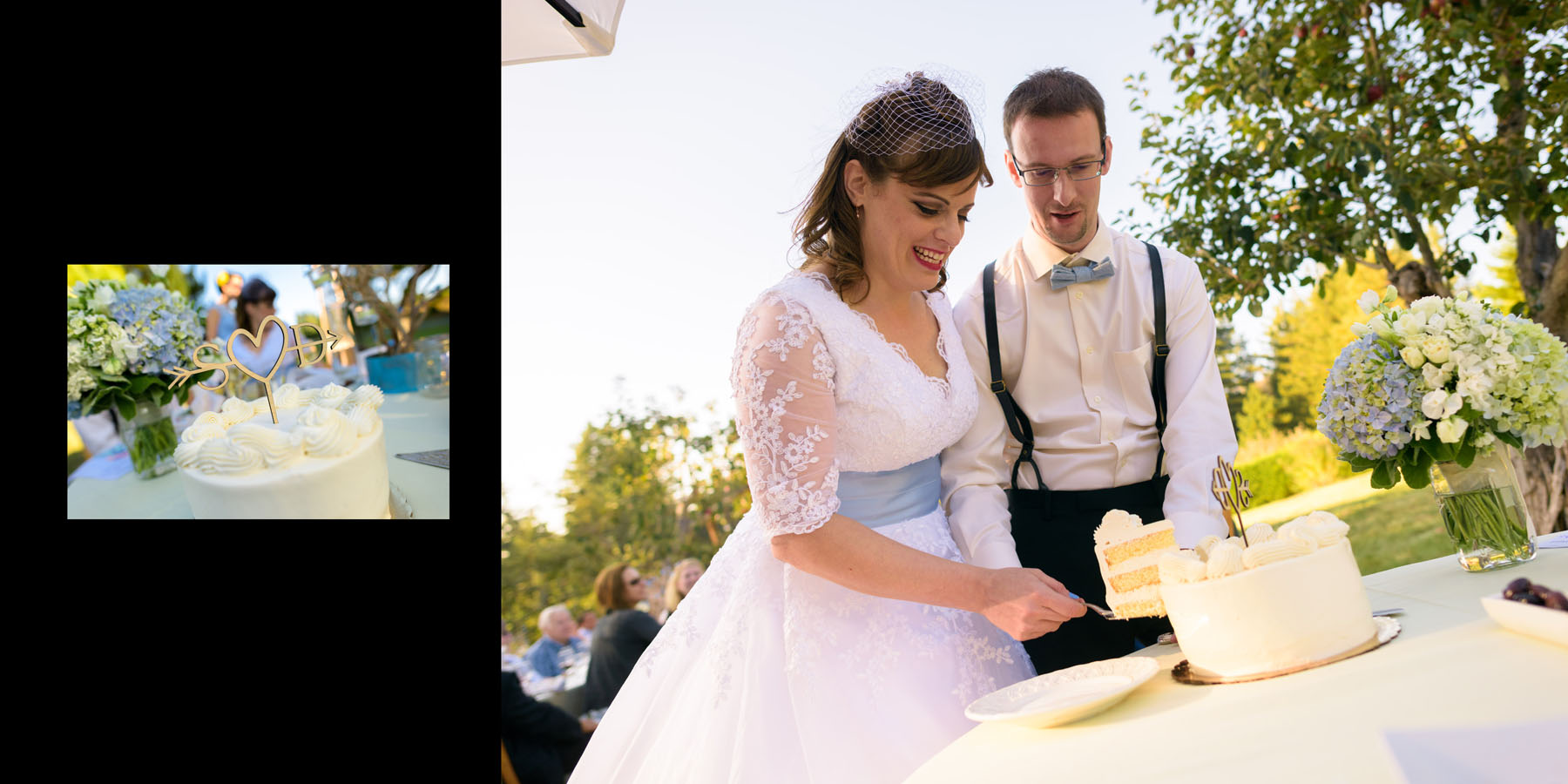 Cutting the cake - Private Estate wedding in Sebastopol, CA - by Bay Area wedding photographer Chris Schmauch