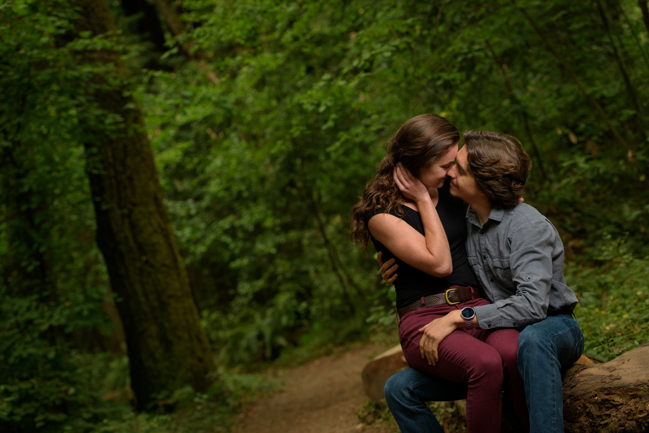 Couple sitting on a log and kissing - Engagement Photos in Nisene Marks Forest in Aptos, CA - by Bay Area wedding photographer Chris Schmauch