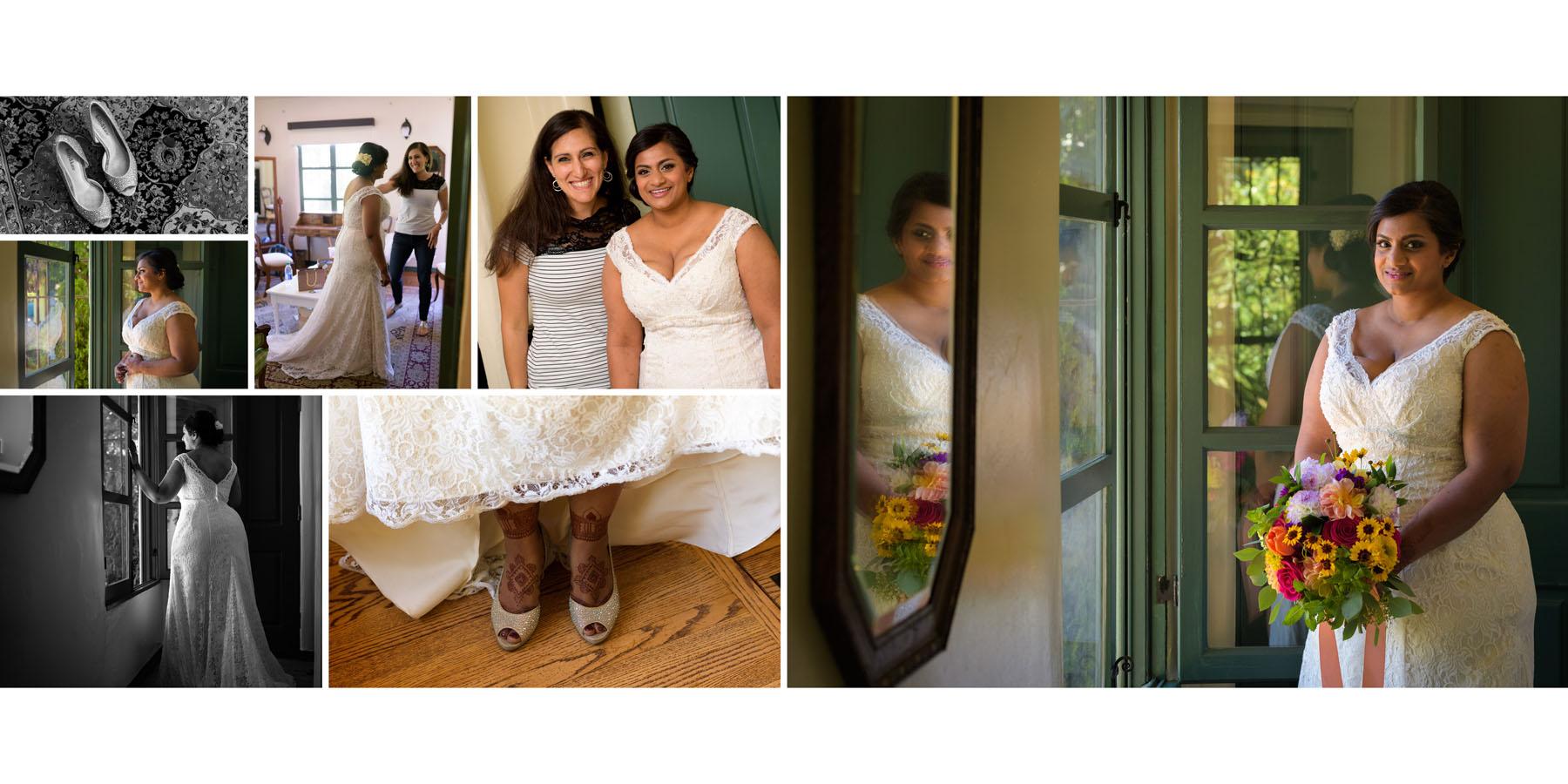 Bride getting ready –Allied Arts Guild –Menlo Park wedding photos –by Bay Area wedding photographer Chris Schmauch