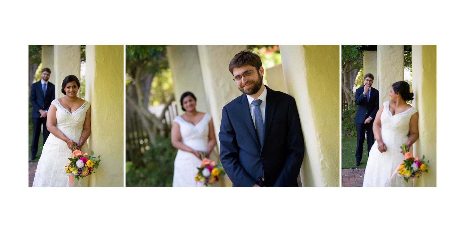 bride and groom formal photos –Allied Arts Guild –Menlo Park wedding photos –by Bay Area wedding photographer Chris Schmauch