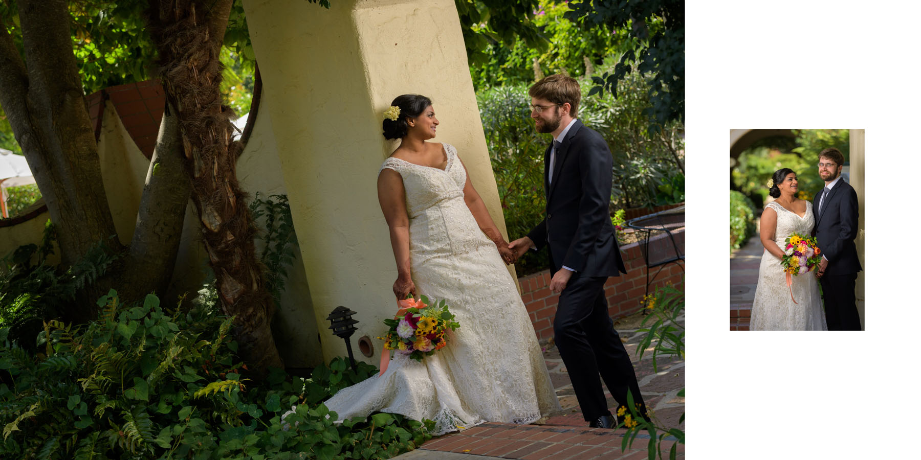 bride and groom formals –Allied Arts Guild –Menlo Park wedding photos –by Bay Area wedding photographer Chris Schmauch