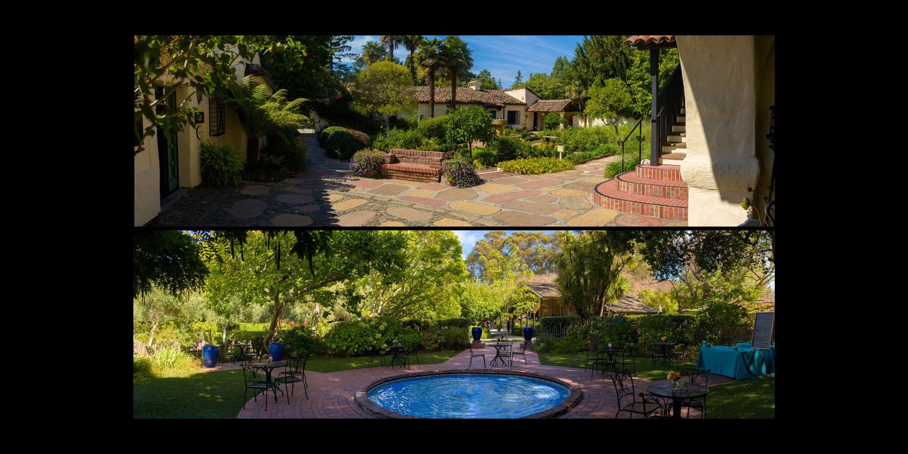 Panoramic images of the venue –Allied Arts Guild –Menlo Park wedding photos –by Bay Area wedding photographer Chris Schmauch