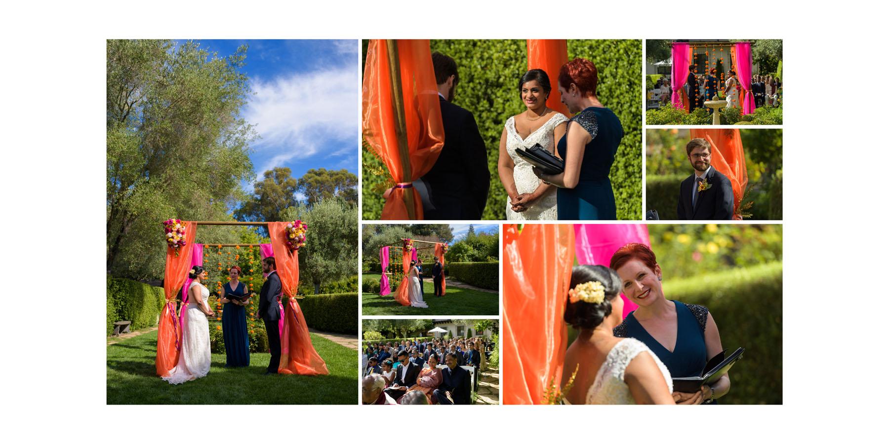 outdoor wedding ceremony –Allied Arts Guild –Menlo Park wedding photos –by Bay Area wedding photographer Chris Schmauch