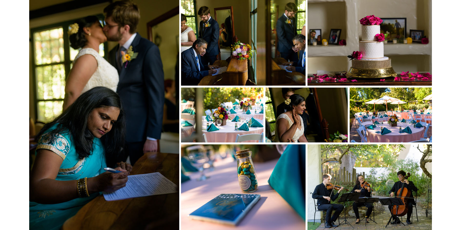 Signing the marriage certificate –Allied Arts Guild –Menlo Park wedding photos –by Bay Area wedding photographer Chris Schmauch