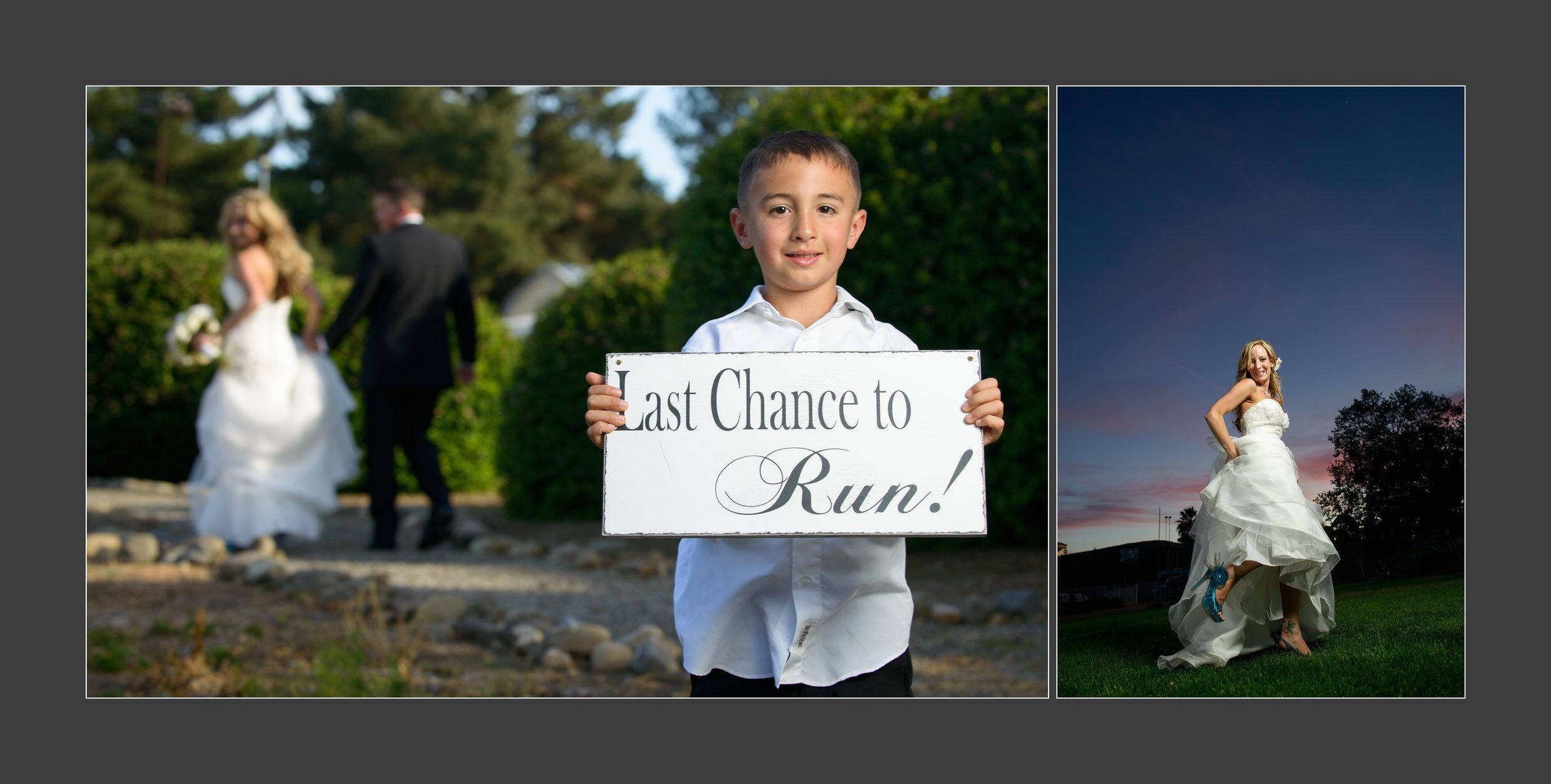 Last chance to run! Wedding photos taken by Chris Schmauch at Goularte Estate in San Martin, California.
