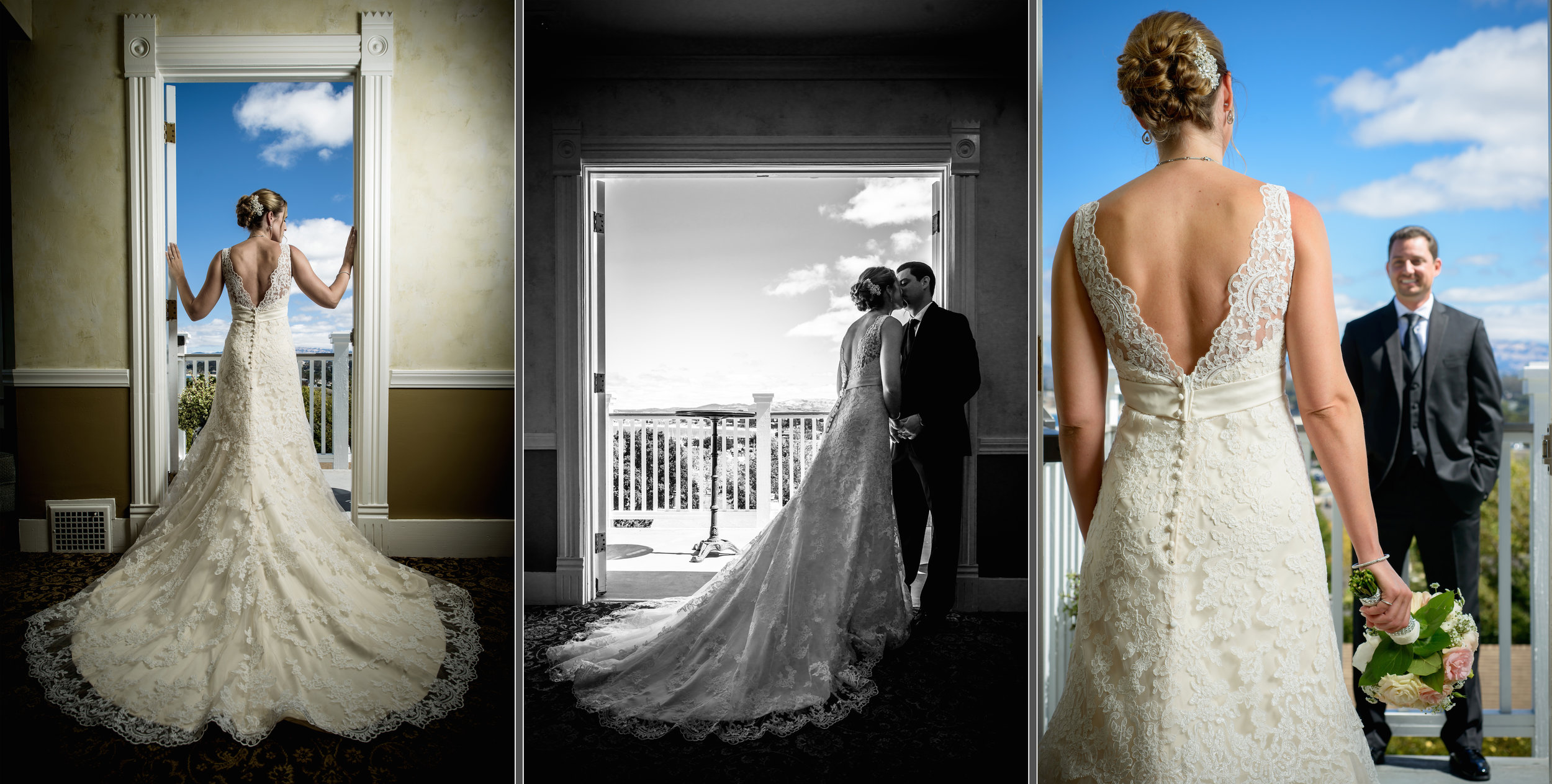 Bride and groom framed in a doorway on a sunny day. Wedding photos taken by Chris Schmauch at The Perry House in Pacific Grove, California.