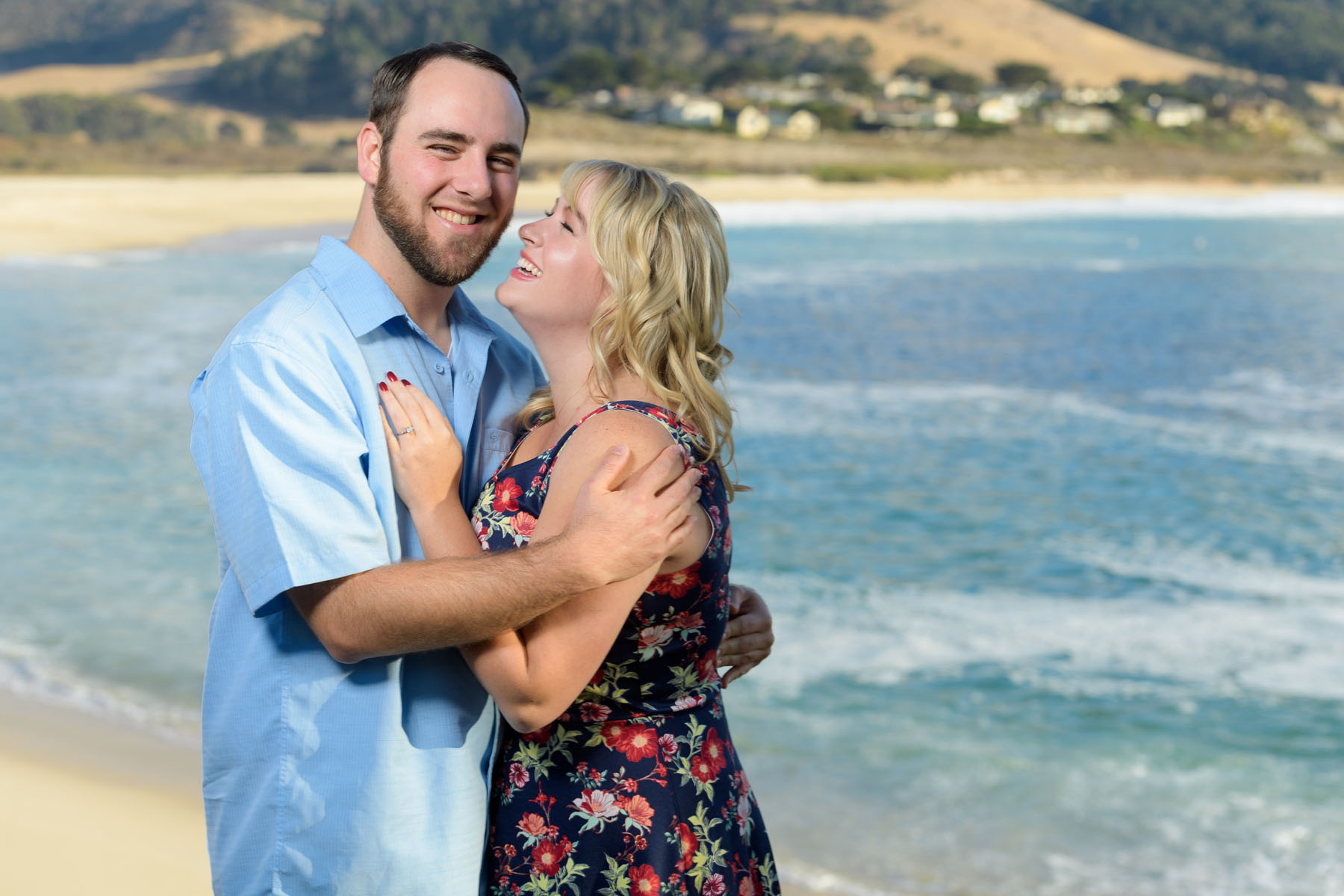 Couple posing in front of ocean - Stewart's Cove - Carmel Engagement Photography - photos by Bay Area wedding photographer Chris Schmauch