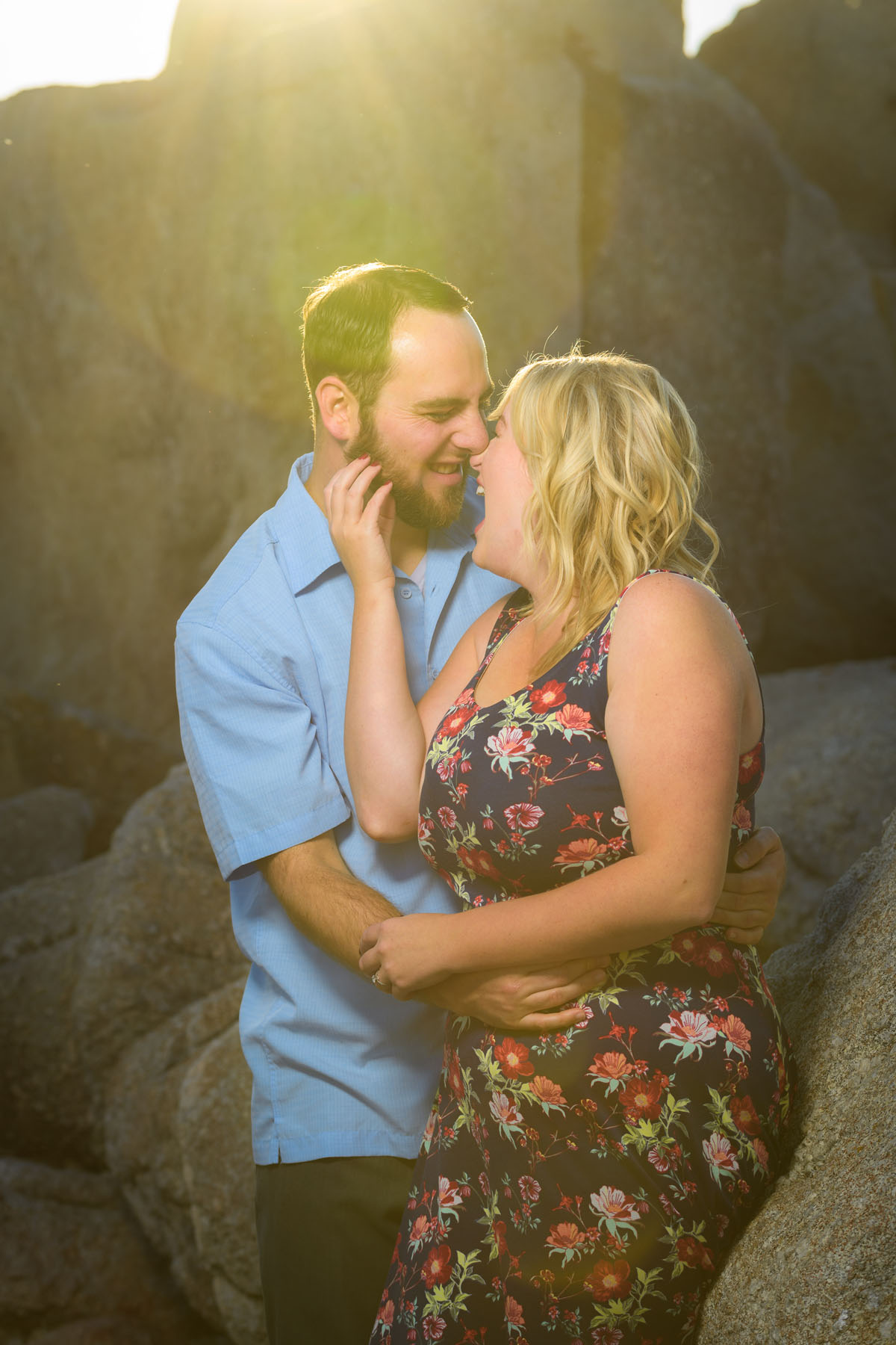 couple intimate on beach b&w - Stewart's Cove - Carmel Engagement Photography - photos by Bay Area wedding photographer Chris Schmauch