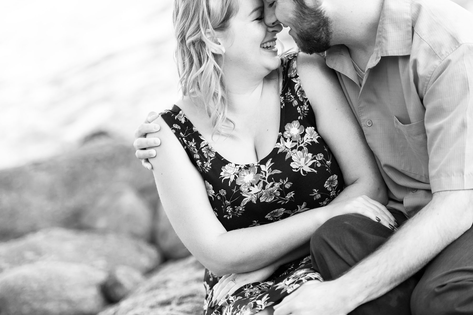b&w intimate couple close on beach - Stewart's Cove - Carmel Engagement Photography - photos by Bay Area wedding photographer Chris Schmauch