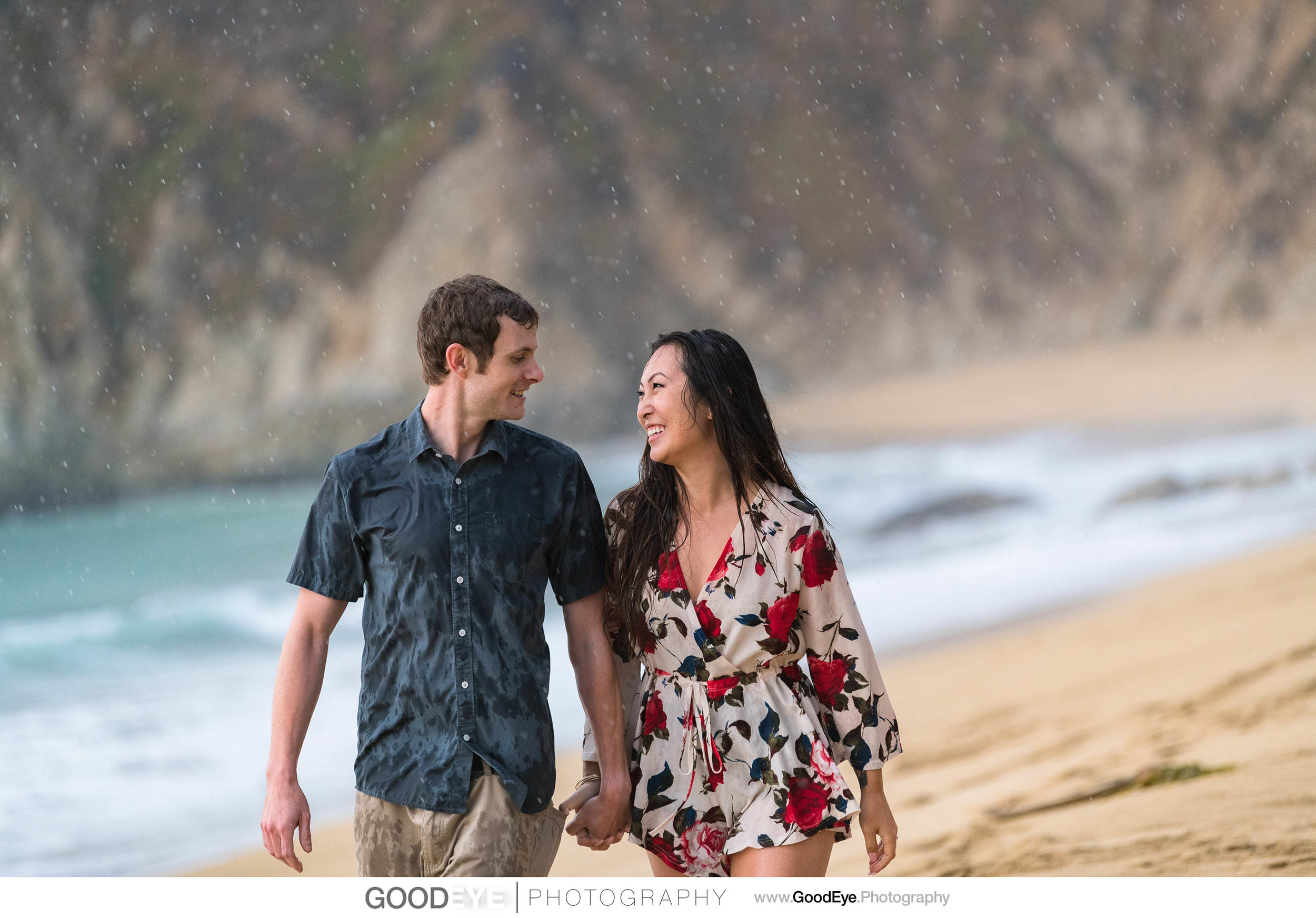 Montara - Gray Whale Cove Engagement Photos in the rain